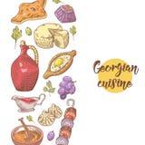 Hand gezeichnetes georgisches Lebensmittel-Menü Georgia Traditional Cuisine mit Mehlkloß lizenzfreie abbildung