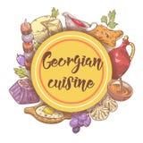 Hand gezeichnetes georgisches Lebensmittel-Menü Georgia Traditional Cuisine mit Mehlkloß und Khinkali lizenzfreie abbildung