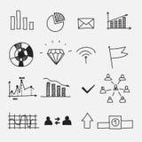 Hand gezeichnetes Geschäftsgekritzel skizziert infographic Stockfotografie