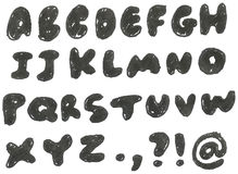 Hand gezeichnetes geschwärztes Alphabet Lizenzfreies Stockbild