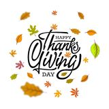 Hand gezeichnetes glückliches Danksagungstypographieplakat Feiertext mit Blättern für Postkarte, Ikone oder Ausweis Vektor Lizenzfreie Stockfotografie