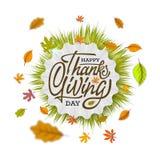 Hand gezeichnetes glückliches Danksagungstypographieplakat Feiertext mit Blättern für Postkarte, Ikone oder Ausweis Vektor Stockfotografie