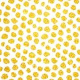 Hand gezeichnetes Gold Dots Seamless Pattern Stockbild