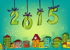 Hand gezeichnetes guten Rutsch ins Neue Jahr-Konzept 2015 Lizenzfreie Stockbilder