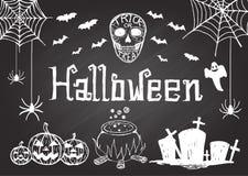 Hand gezeichnetes Halloween auf Tafel Lizenzfreie Stockfotos