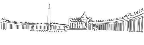 Hand gezeichnetes Heiliges Peter Square und Heiliges Peter Basilica vatican Stockfoto
