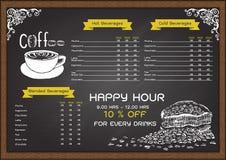 Hand gezeichnetes Kaffeemenü auf Tafel Lizenzfreie Stockbilder