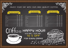 Hand gezeichnetes Kaffeemenü auf Tafel Lizenzfreies Stockfoto