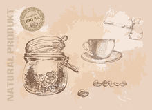 Hand gezeichnetes Kaffeeset Stockfoto