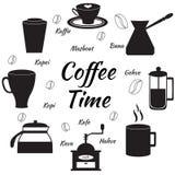 Hand gezeichnetes Kaffeeset Kaffee und mehr Auch im corel abgehobenen Betrag Stockfotos