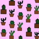 Hand gezeichnetes Kaktusmuster Stockfotos
