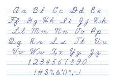 Hand gezeichnetes kalligraphisches Versalienalphabet und Stockbilder