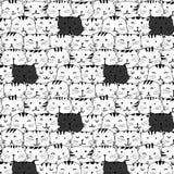 Hand gezeichnetes Katzenvektormuster Gekritzelkunst Lizenzfreies Stockfoto