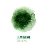 Hand gezeichnetes Landschaftsdesignlogo Stockfotografie