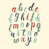Hand gezeichnetes lateinisches Kalligraphiebürstenskript von Kleinbuchstaben in den Weinlesefarben Kalligraphisches Alphabet Vekt stock abbildung