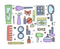 Hand gezeichnetes Make-up und Kosmetikfarbgekritzel Stockfotos