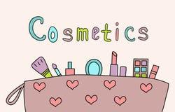 Hand gezeichnetes Make-up und Kosmetikfarbgekritzel Stockbilder