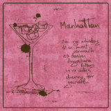 Hand gezeichnetes Manhattan-Cocktail Lizenzfreie Stockfotografie