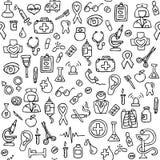 Hand gezeichnetes medizinisches nahtloses Muster Stockbild