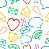 Hand gezeichnetes Muster mit Social Media-Elementen Lizenzfreies Stockbild