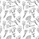 Hand gezeichnetes nahtloses mit Blumenmuster der Gekritzelweinlese für das Scrapbooking Lizenzfreie Stockfotografie