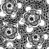 Hand gezeichnetes nahtloses Muster der abstrakten Blume Lizenzfreie Stockfotografie