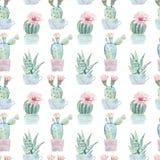 Hand gezeichnetes nahtloses Muster der Aquarell Saguaro-Kakteen Lizenzfreie Stockfotos