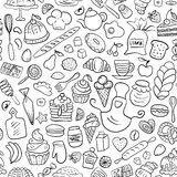 Hand gezeichnetes nahtloses Muster der Bäckerei Stockfoto