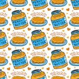 Hand gezeichnetes nahtloses Muster der Erdnussbutter Vektorhintergrund mit Frühstückspfannkuchen Stockfotografie