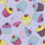 Hand gezeichnetes nahtloses Muster der kleinen Kuchen Lizenzfreies Stockfoto