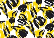 Hand gezeichnetes nahtloses Muster der Tulpe stock abbildung