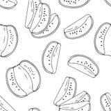 Hand gezeichnetes nahtloses Muster des Entwurfs mit Kiwi Schwarzweiss-Lebensmittelhintergrund stock abbildung