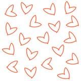 Hand gezeichnetes nahtloses Muster des Gekritzels der roten orange Linie Ikonendruck der Herzen Stockbild