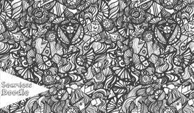 Hand gezeichnetes nahtloses Muster des Karikaturphantasie-Gekritzels Lizenzfreie Stockbilder