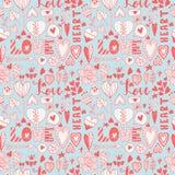 Hand gezeichnetes nahtloses Muster des Valentinsgrußgekritzels Stockfotografie