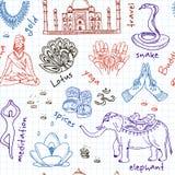 Hand gezeichnetes nahtloses Muster Gekritzel Indien-Symbole Stockbild