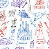 Hand gezeichnetes nahtloses Muster Gekritzel Spanien-Symbole Lizenzfreie Stockfotos