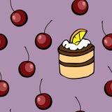Hand gezeichnetes nahtloses Muster: Kuchen, Kirsche vektor abbildung