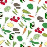 Hand gezeichnetes nahtloses Muster mit Gemüse Stockbild