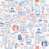 Hand gezeichnetes nahtloses Muster mit Geschäftssymbolen Stockbild