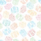 Hand gezeichnetes nahtloses Muster mit Geschenkboxen Auch im corel abgehobenen Betrag Für ein Geschenk verpacken, Schablone für G Stockfotos