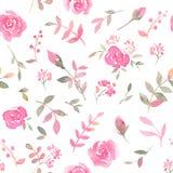 Hand gezeichnetes nahtloses Muster mit rosafarbenen Blumen des Aquarells Stockbild