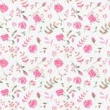 Hand gezeichnetes nahtloses Muster mit rosafarbenen Blumen des Aquarells Stockfotografie
