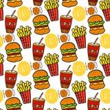 Hand gezeichnetes nahtloses Muster mit Schnellimbiß Gekritzelstraßenlebensmittel Brät Kartoffel, Kolabaum und Burgerhintergrund Lizenzfreie Stockfotografie