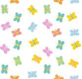 Hand gezeichnetes nettes buntes Schmetterlings-Vektor-Muster Weißer Hintergrund Kindische einfache Art Abstraktes fliegendes Mehr lizenzfreie abbildung