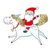 Hand gezeichnetes nettes Einhorn und Santa Claus Stockfotos