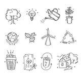 Hand gezeichnetes organisches eco Ikonen der Gekritzelskizzenökologie Lizenzfreie Stockfotografie