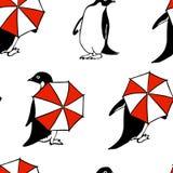 Hand gezeichnetes Pinguinmuster Lizenzfreie Stockbilder