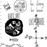 Hand gezeichnetes Piratengekritzel stellte auf weißen Hintergrund ein Lizenzfreie Stockfotos