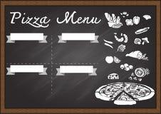 Hand gezeichnetes Pizzamenü auf Tafeldesignschablone gebrauchsfertig Stockfotos